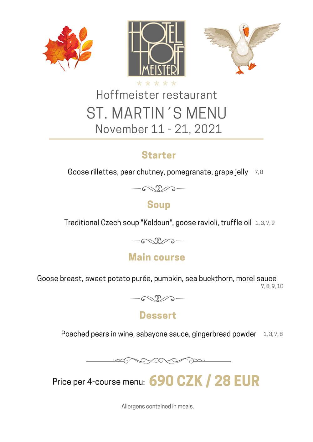 St. Martin's menu