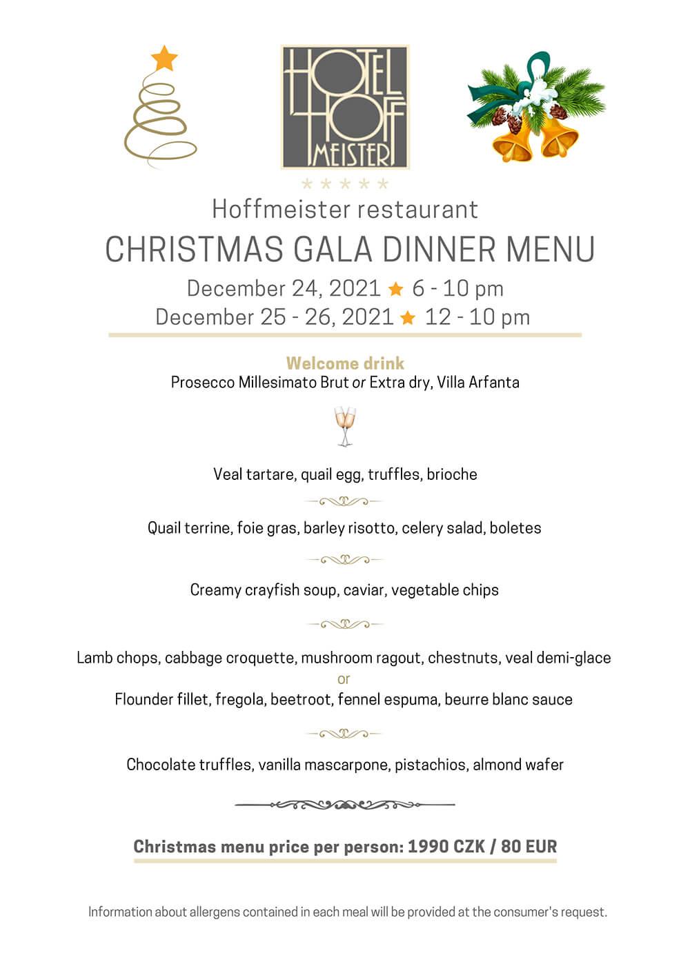 Christmas gala dinner menu